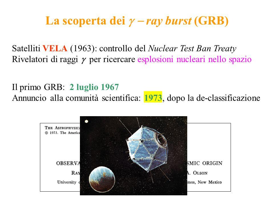 Il primo GRB: 2 luglio 1967 Annuncio alla comunità scientifica: 1973, dopo la de-classificazione La scoperta dei   ray burst (GRB) Satelliti VELA (1