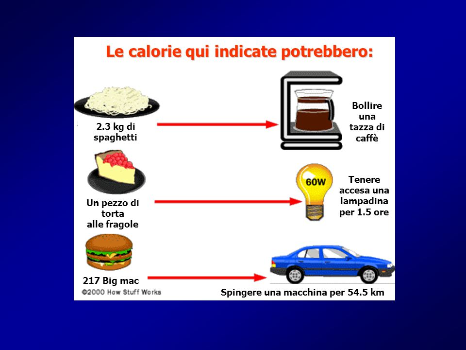 Le calorie qui indicate potrebbero: Spingere una macchina per 54.5 km Tenere accesa una lampadina per 1.5 ore Un pezzo di torta alle fragole 2.3 kg di