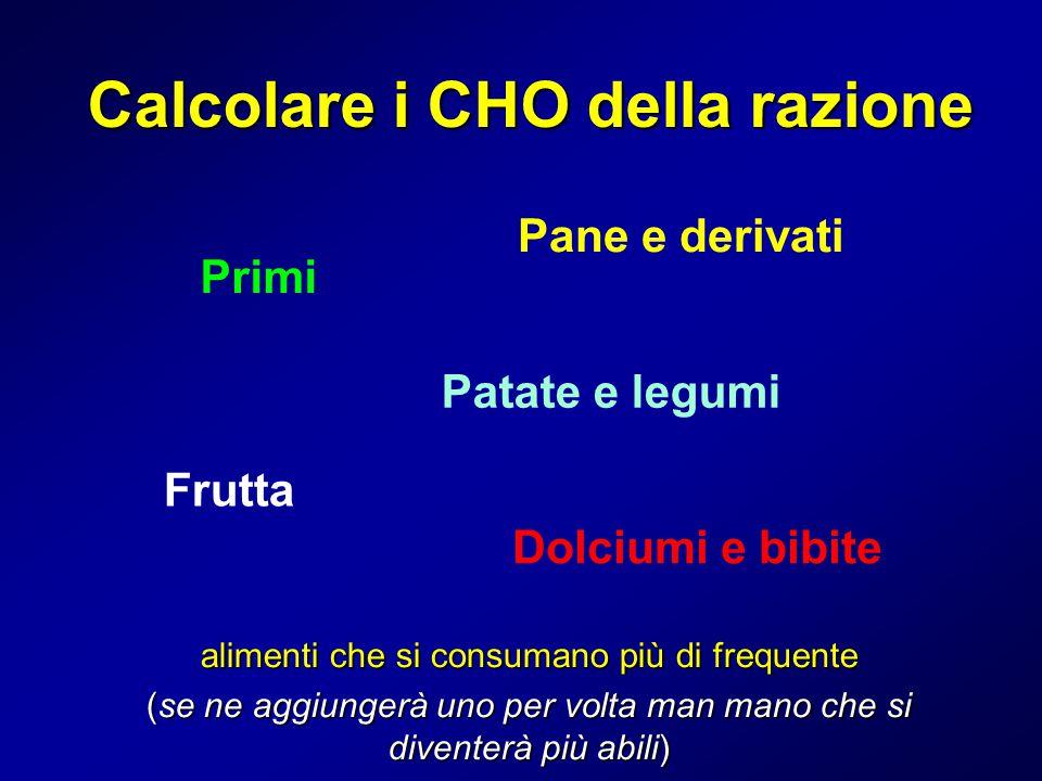 Calcolare i CHO della razione Primi alimenti che si consumano più di frequente (se ne aggiungerà uno per volta man mano che si diventerà più abili) Pa