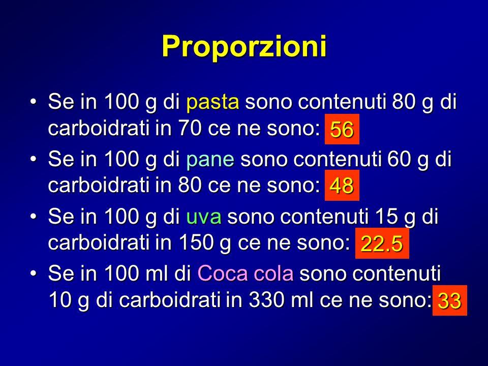 Proporzioni Se in 100 g di pasta sono contenuti 80 g di carboidrati in 70 ce ne sono:Se in 100 g di pasta sono contenuti 80 g di carboidrati in 70 ce