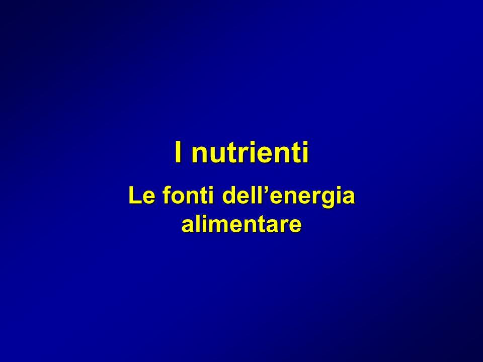 Carboidrati (zuccheri, glucidi, amidi) Ogni grammo fornisce 4 calorie Energia prontamente disponibile ma di breve durata Vengono immagazzinati nel fegato e nel muscolo in scorte (glicogeno) piccole e se in eccesso sotto forma di grasso