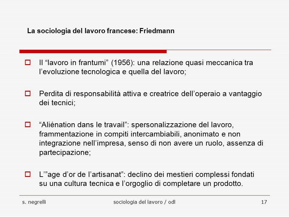 """s. negrellisociologia del lavoro / odl17 La sociologia del lavoro francese: Friedmann  Il """"lavoro in frantumi"""" (1956): una relazione quasi meccanica"""