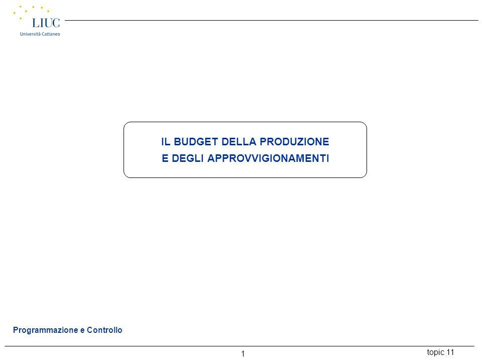 topic 11 1 Programmazione e Controllo IL BUDGET DELLA PRODUZIONE E DEGLI APPROVVIGIONAMENTI