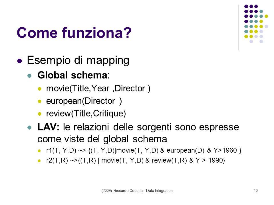 (2009) Riccardo Cocetta - Data Integration10 Come funziona.