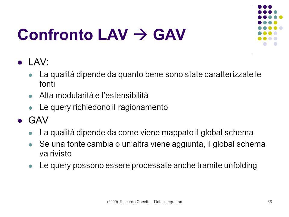 Confronto LAV  GAV LAV: La qualità dipende da quanto bene sono state caratterizzate le fonti Alta modularità e l'estensibilità Le query richiedono il ragionamento GAV La qualità dipende da come viene mappato il global schema Se una fonte cambia o un'altra viene aggiunta, il global schema va rivisto Le query possono essere processate anche tramite unfolding (2009) Riccardo Cocetta - Data Integration36