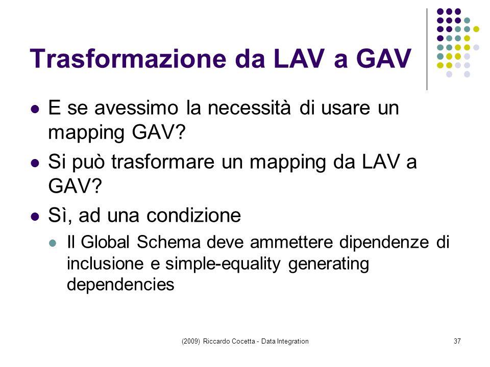 Trasformazione da LAV a GAV E se avessimo la necessità di usare un mapping GAV.