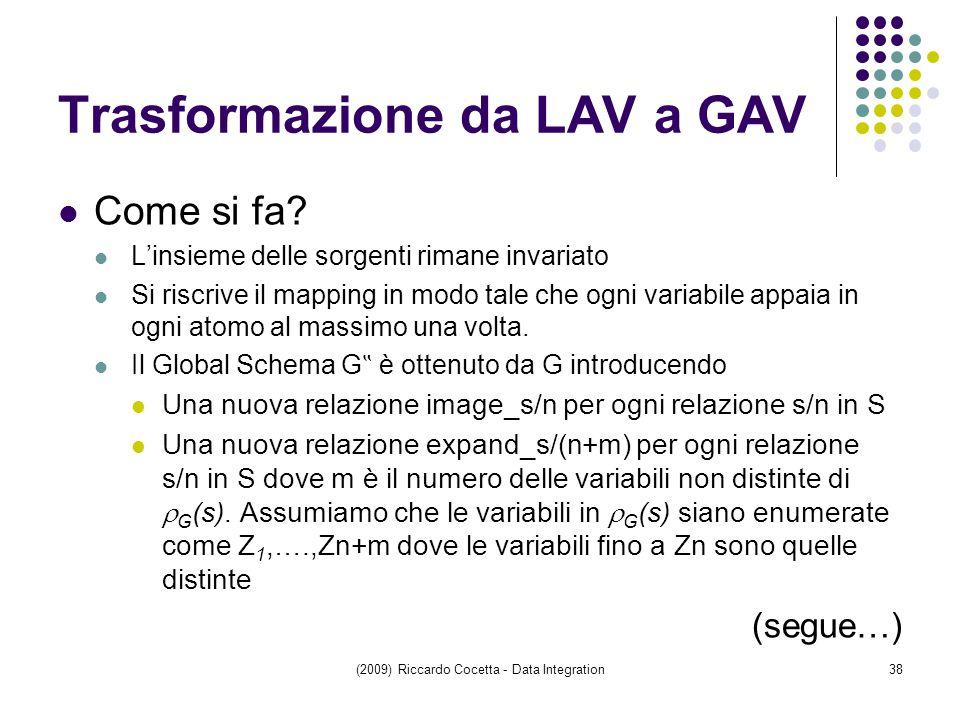 Trasformazione da LAV a GAV Come si fa.