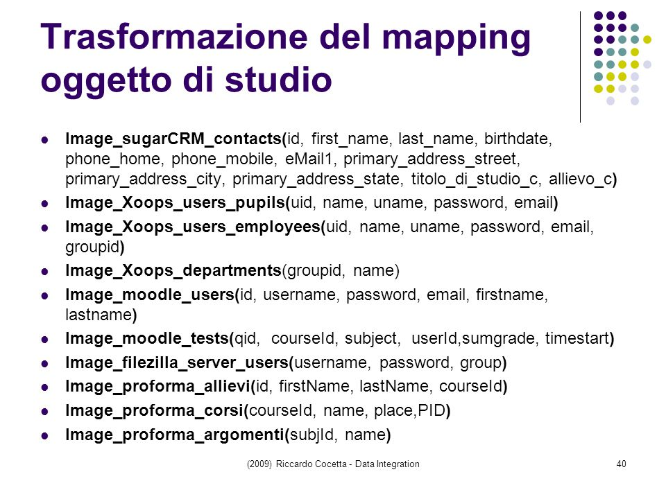 Trasformazione del mapping oggetto di studio Image_sugarCRM_contacts(id, first_name, last_name, birthdate, phone_home, phone_mobile, eMail1, primary_address_street, primary_address_city, primary_address_state, titolo_di_studio_c, allievo_c) Image_Xoops_users_pupils(uid, name, uname, password, email) Image_Xoops_users_employees(uid, name, uname, password, email, groupid) Image_Xoops_departments(groupid, name) Image_moodle_users(id, username, password, email, firstname, lastname) Image_moodle_tests(qid, courseId, subject, userId,sumgrade, timestart) Image_filezilla_server_users(username, password, group) Image_proforma_allievi(id, firstName, lastName, courseId) Image_proforma_corsi(courseId, name, place,PID) Image_proforma_argomenti(subjId, name) (2009) Riccardo Cocetta - Data Integration40