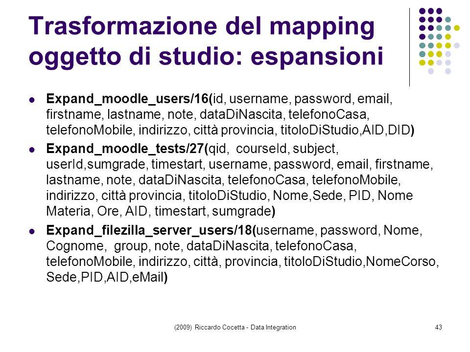 Trasformazione del mapping oggetto di studio: espansioni Expand_moodle_users/16(id, username, password, email, firstname, lastname, note, dataDiNascita, telefonoCasa, telefonoMobile, indirizzo, città provincia, titoloDiStudio,AID,DID) Expand_moodle_tests/27(qid, courseId, subject, userId,sumgrade, timestart, username, password, email, firstname, lastname, note, dataDiNascita, telefonoCasa, telefonoMobile, indirizzo, città provincia, titoloDiStudio, Nome,Sede, PID, Nome Materia, Ore, AID, timestart, sumgrade) Expand_filezilla_server_users/18(username, password, Nome, Cognome, group, note, dataDiNascita, telefonoCasa, telefonoMobile, indirizzo, città, provincia, titoloDiStudio,NomeCorso, Sede,PID,AID,eMail) (2009) Riccardo Cocetta - Data Integration43