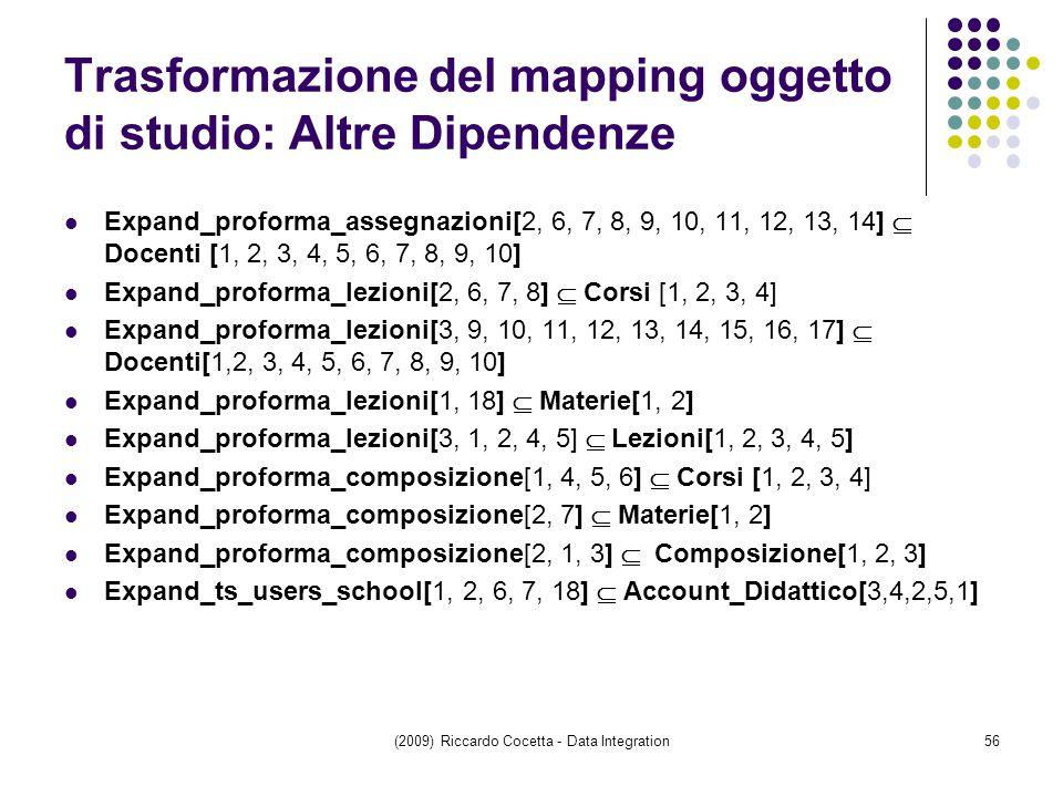 Trasformazione del mapping oggetto di studio: Altre Dipendenze Expand_proforma_assegnazioni[2, 6, 7, 8, 9, 10, 11, 12, 13, 14]  Docenti [1, 2, 3, 4, 5, 6, 7, 8, 9, 10] Expand_proforma_lezioni[2, 6, 7, 8]  Corsi [1, 2, 3, 4] Expand_proforma_lezioni[3, 9, 10, 11, 12, 13, 14, 15, 16, 17]  Docenti[1,2, 3, 4, 5, 6, 7, 8, 9, 10] Expand_proforma_lezioni[1, 18]  Materie[1, 2] Expand_proforma_lezioni[3, 1, 2, 4, 5]  Lezioni[1, 2, 3, 4, 5] Expand_proforma_composizione[1, 4, 5, 6]  Corsi [1, 2, 3, 4] Expand_proforma_composizione[2, 7]  Materie[1, 2] Expand_proforma_composizione[2, 1, 3]  Composizione[1, 2, 3] Expand_ts_users_school[1, 2, 6, 7, 18]  Account_Didattico[3,4,2,5,1] (2009) Riccardo Cocetta - Data Integration56