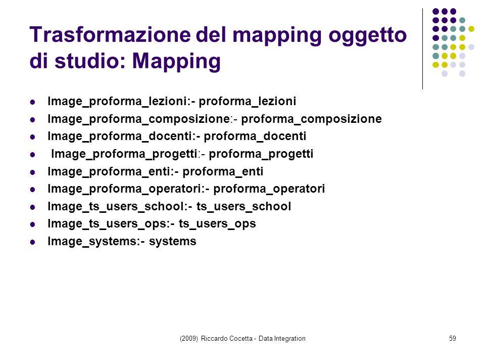 Trasformazione del mapping oggetto di studio: Mapping Image_proforma_lezioni:- proforma_lezioni Image_proforma_composizione:- proforma_composizione Image_proforma_docenti:- proforma_docenti Image_proforma_progetti:- proforma_progetti Image_proforma_enti:- proforma_enti Image_proforma_operatori:- proforma_operatori Image_ts_users_school:- ts_users_school Image_ts_users_ops:- ts_users_ops Image_systems:- systems (2009) Riccardo Cocetta - Data Integration59