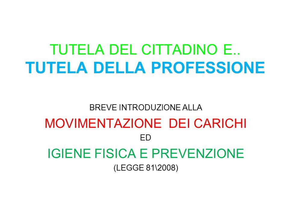 TUTELA DEL CITTADINO E.. TUTELA DELLA PROFESSIONE BREVE INTRODUZIONE ALLA MOVIMENTAZIONE DEI CARICHI ED IGIENE FISICA E PREVENZIONE (LEGGE 81\2008)