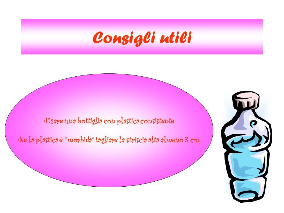 """Consigli utili Usare una bottiglia con plastica consistente Se la plastica è """"morbida"""" tagliare la striscia alta almeno 3 cm."""
