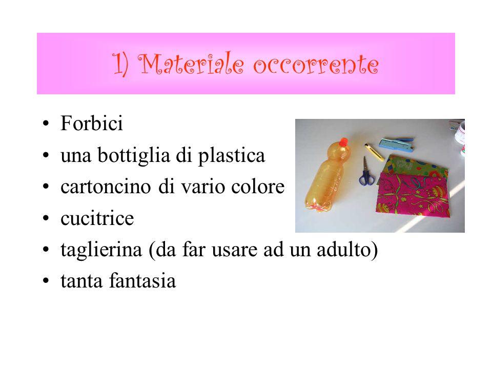 1) Materiale occorrente Forbici una bottiglia di plastica cartoncino di vario colore cucitrice taglierina (da far usare ad un adulto) tanta fantasia
