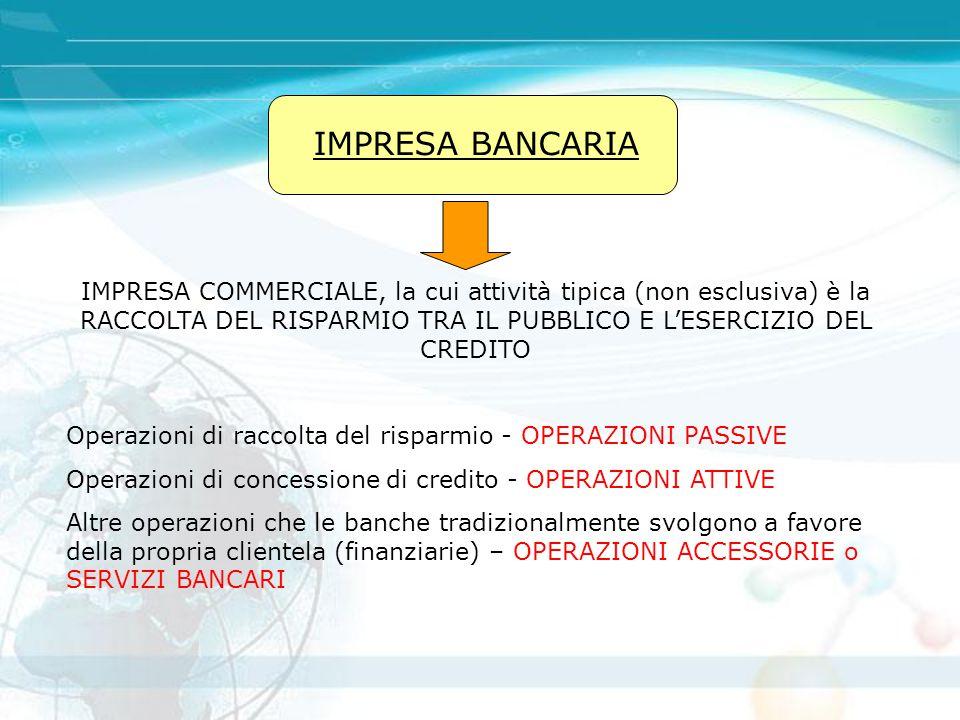 IMPRESA BANCARIA IMPRESA COMMERCIALE, la cui attività tipica (non esclusiva) è la RACCOLTA DEL RISPARMIO TRA IL PUBBLICO E L'ESERCIZIO DEL CREDITO Ope