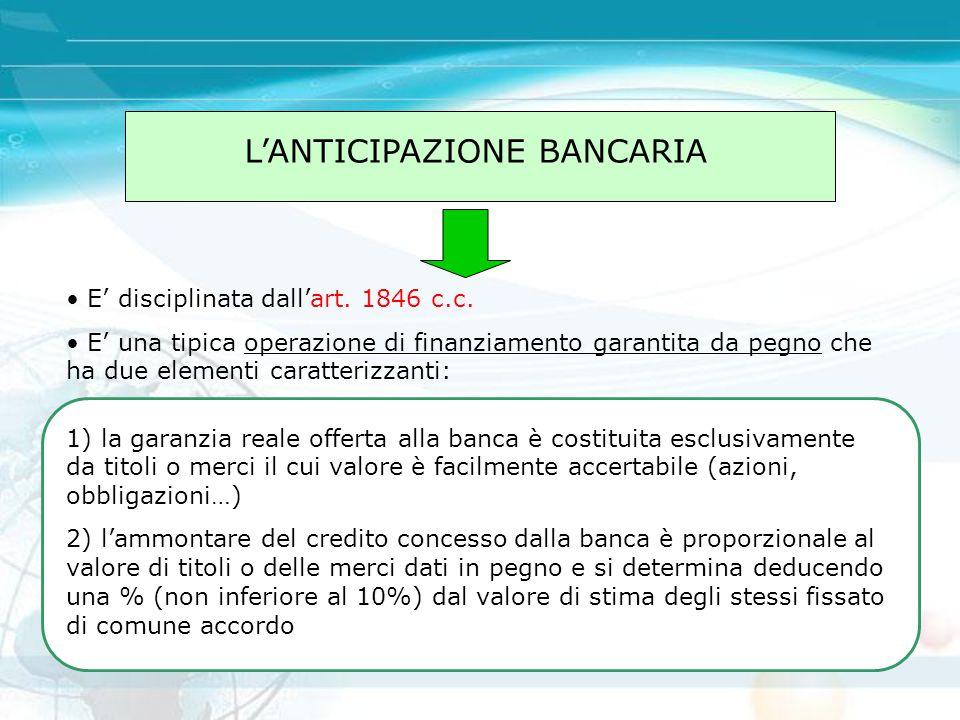 L'ANTICIPAZIONE BANCARIA E' disciplinata dall'art. 1846 c.c. E' una tipica operazione di finanziamento garantita da pegno che ha due elementi caratter