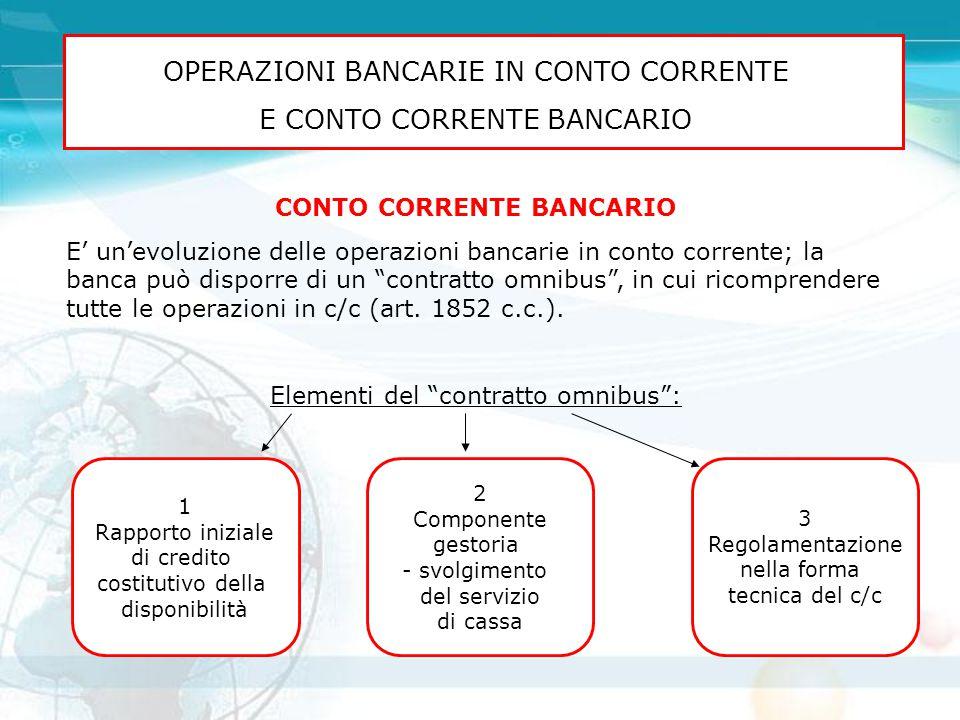 OPERAZIONI BANCARIE IN CONTO CORRENTE E CONTO CORRENTE BANCARIO CONTO CORRENTE BANCARIO E' un'evoluzione delle operazioni bancarie in conto corrente;
