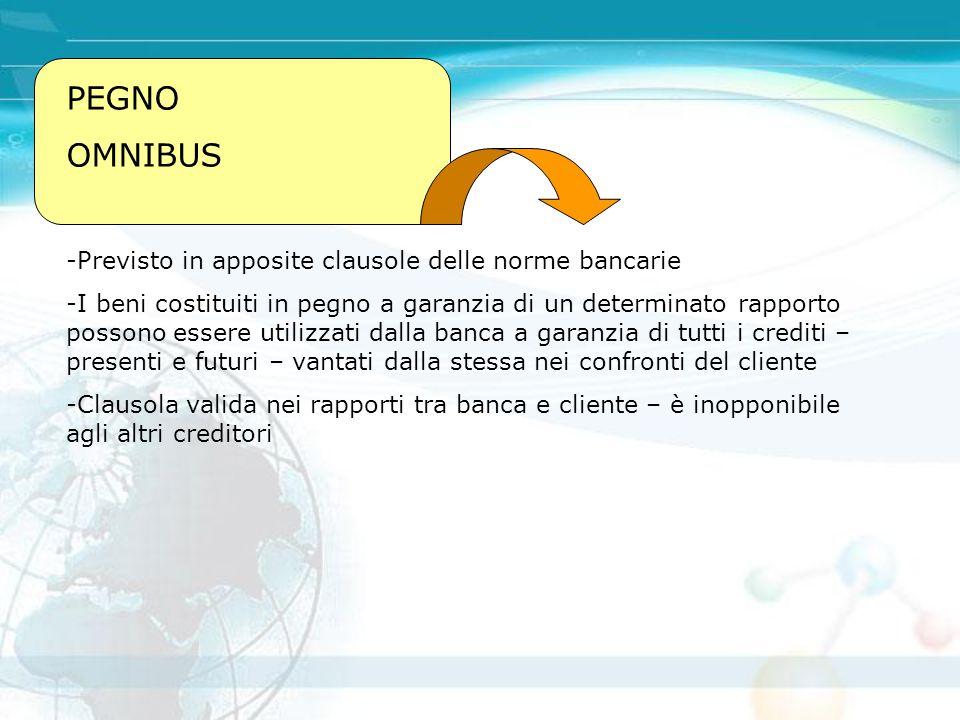 PEGNO OMNIBUS -Previsto in apposite clausole delle norme bancarie -I beni costituiti in pegno a garanzia di un determinato rapporto possono essere uti
