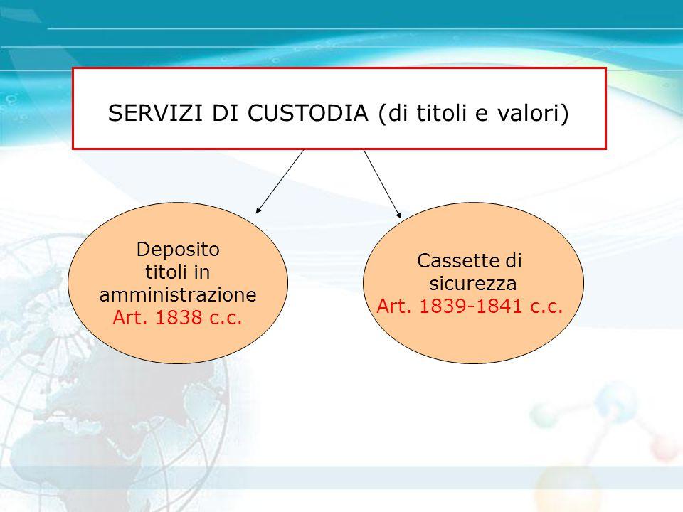 SERVIZI DI CUSTODIA (di titoli e valori) Deposito titoli in amministrazione Art. 1838 c.c. Cassette di sicurezza Art. 1839-1841 c.c.