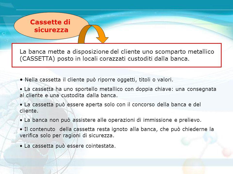 Cassette di sicurezza La banca mette a disposizione del cliente uno scomparto metallico (CASSETTA) posto in locali corazzati custoditi dalla banca. Ne