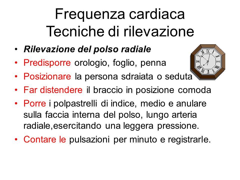 Frequenza cardiaca Tecniche di rilevazione Rilevazione del polso radiale Predisporre orologio, foglio, penna Posizionare la persona sdraiata o seduta
