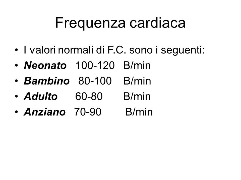 Frequenza cardiaca I valori normali di F.C. sono i seguenti: Neonato 100-120 B/min Bambino 80-100 B/min Adulto 60-80 B/min Anziano 70-90 B/min