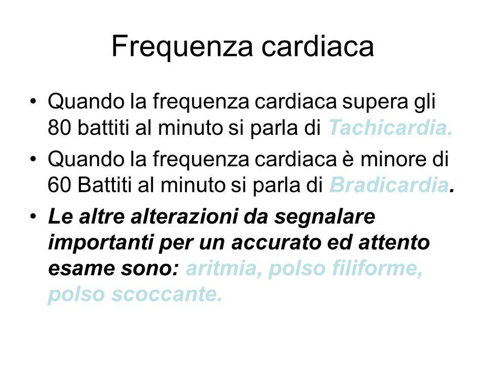 Frequenza cardiaca Quando la frequenza cardiaca supera gli 80 battiti al minuto si parla di Tachicardia. Quando la frequenza cardiaca è minore di 60 B