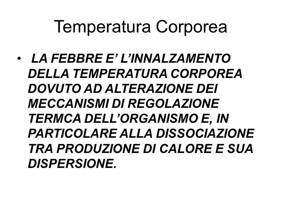 Temperatura Corporea LA FEBBRE E' L'INNALZAMENTO DELLA TEMPERATURA CORPOREA DOVUTO AD ALTERAZIONE DEI MECCANISMI DI REGOLAZIONE TERMCA DELL'ORGANISMO