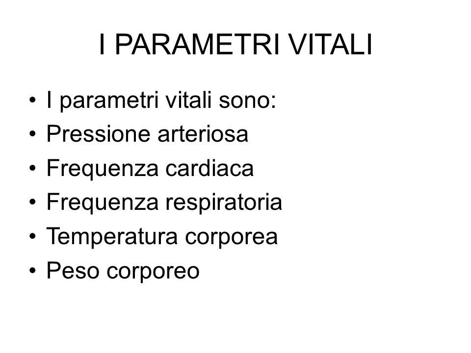 I PARAMETRI VITALI I parametri vitali sono: Pressione arteriosa Frequenza cardiaca Frequenza respiratoria Temperatura corporea Peso corporeo