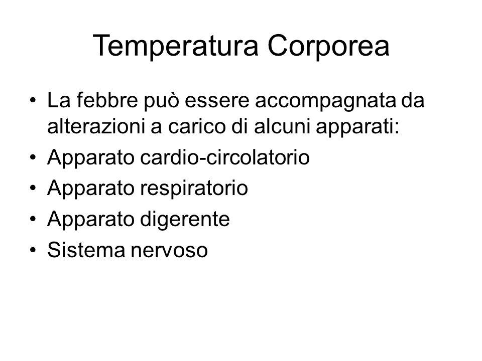 Temperatura Corporea La febbre può essere accompagnata da alterazioni a carico di alcuni apparati: Apparato cardio-circolatorio Apparato respiratorio