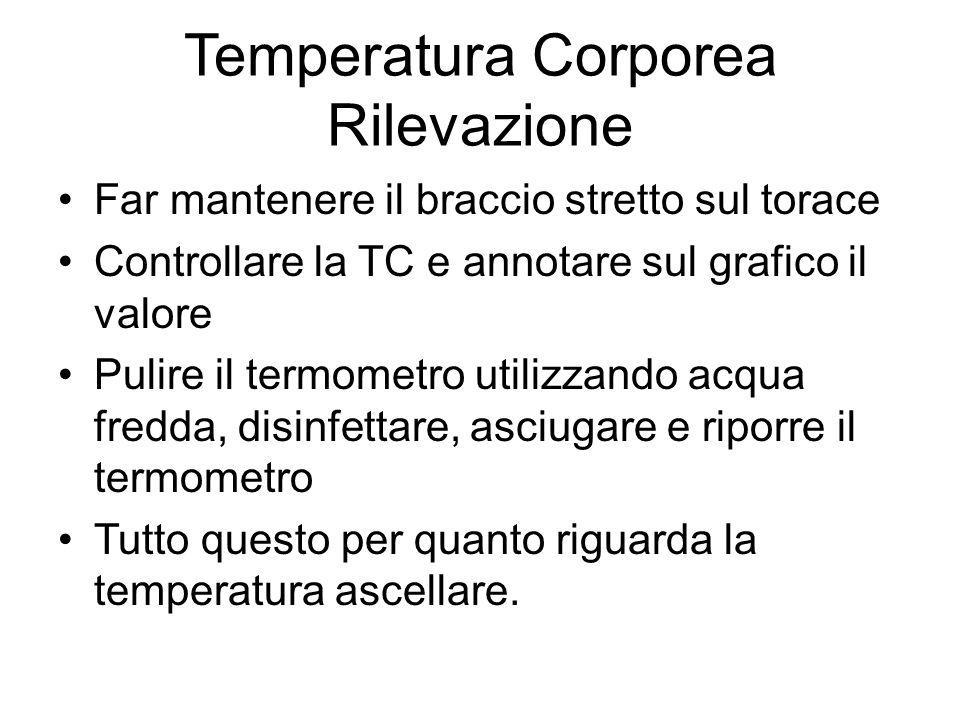 Temperatura Corporea Rilevazione Far mantenere il braccio stretto sul torace Controllare la TC e annotare sul grafico il valore Pulire il termometro u