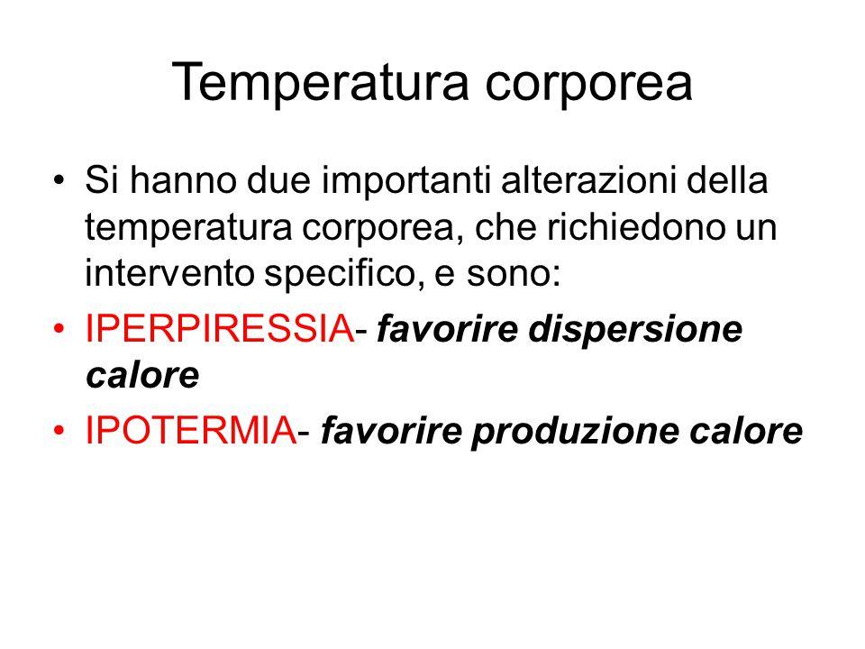 Temperatura corporea Si hanno due importanti alterazioni della temperatura corporea, che richiedono un intervento specifico, e sono: IPERPIRESSIA- fav