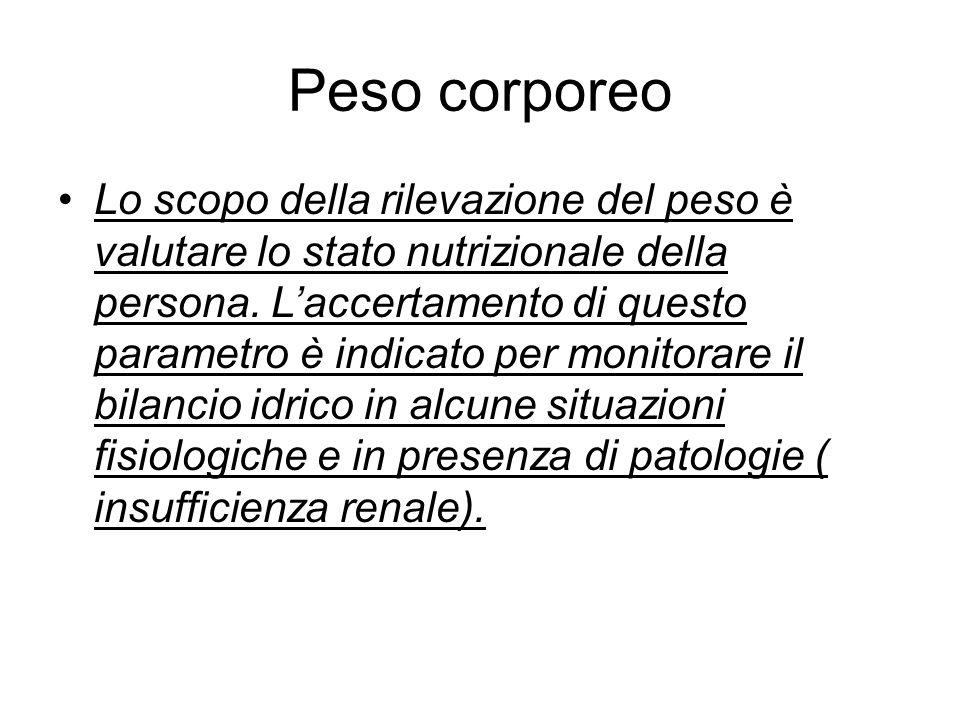 Peso corporeo Lo scopo della rilevazione del peso è valutare lo stato nutrizionale della persona. L'accertamento di questo parametro è indicato per mo