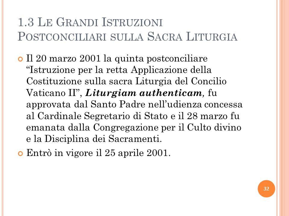 1.3 L E G RANDI I STRUZIONI P OSTCONCILIARI SULLA S ACRA L ITURGIA Il 20 marzo 2001 la quinta postconciliare Istruzione per la retta Applicazione della Costituzione sulla sacra Liturgia del Concilio Vaticano II , Liturgiam authenticam, fu approvata dal Santo Padre nell'udienza concessa al Cardinale Segretario di Stato e il 28 marzo fu emanata dalla Congregazione per il Culto divino e la Disciplina dei Sacramenti.