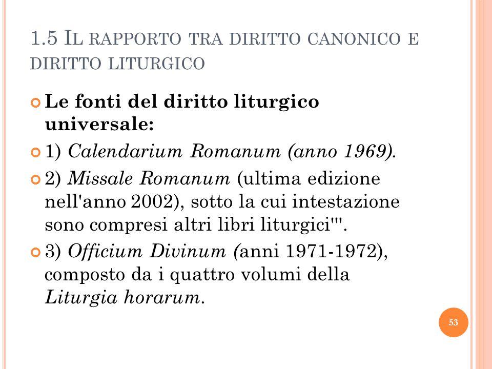 1.5 I L RAPPORTO TRA DIRITTO CANONICO E DIRITTO LITURGICO Le fonti del diritto liturgico universale: 1) Calendarium Romanum (anno 1969).