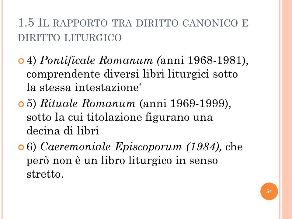 1.5 I L RAPPORTO TRA DIRITTO CANONICO E DIRITTO LITURGICO 4) Pontificale Romanum ( anni 1968-1981), comprendente diversi libri liturgici sotto la stessa intestazione 5) Rituale Romanum (anni 1969-1999), sotto la cui titolazione figurano una decina di libri 6) Caeremoniale Episcoporum (1984), che però non è un libro liturgico in senso stretto.