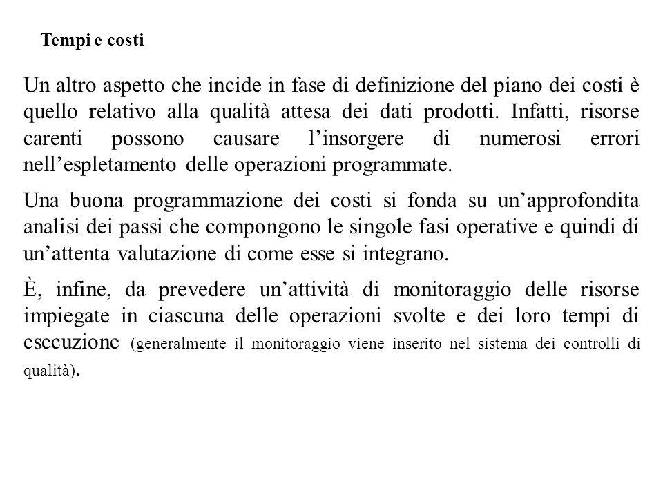 Un altro aspetto che incide in fase di definizione del piano dei costi è quello relativo alla qualità attesa dei dati prodotti.