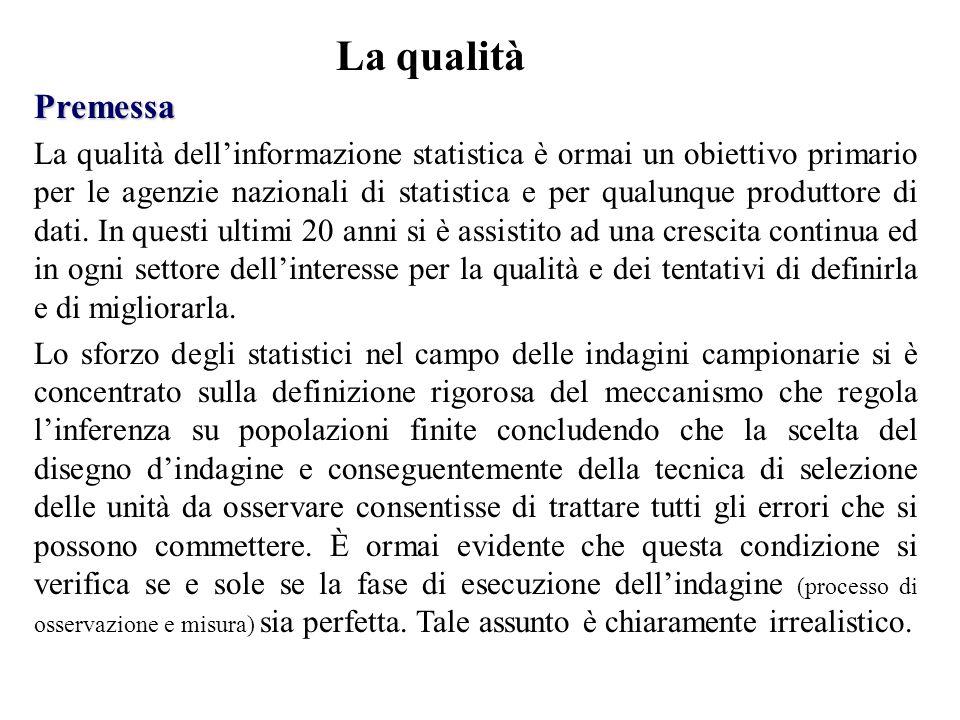Premessa La qualità dell'informazione statistica è ormai un obiettivo primario per le agenzie nazionali di statistica e per qualunque produttore di dati.
