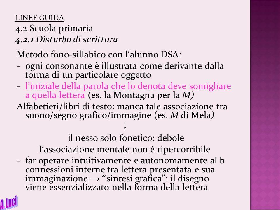 LINEE GUIDA 4.2 Scuola primaria 4.2.1 Disturbo di scrittura Metodo fono-sillabico con l'alunno DSA: -ogni consonante è illustrata come derivante dalla