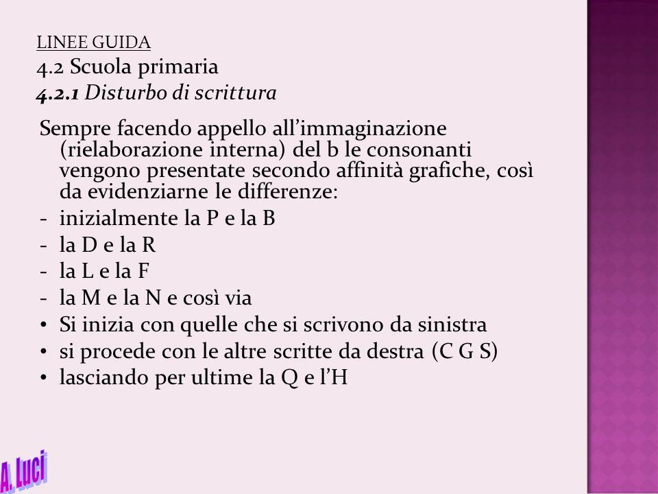 LINEE GUIDA 4.2 Scuola primaria 4.2.1 Disturbo di scrittura Sempre facendo appello all'immaginazione (rielaborazione interna) del b le consonanti veng