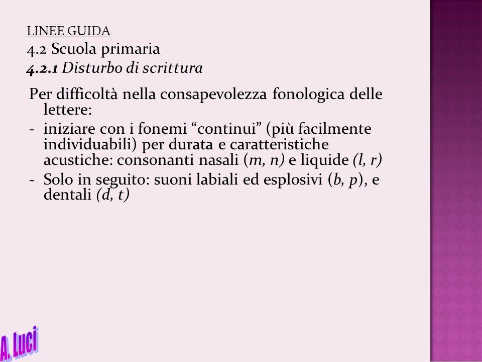 """LINEE GUIDA 4.2 Scuola primaria 4.2.1 Disturbo di scrittura Per difficoltà nella consapevolezza fonologica delle lettere: -iniziare con i fonemi """"cont"""