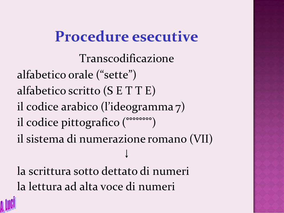 """Procedure esecutive Transcodificazione alfabetico orale (""""sette"""") alfabetico scritto (S E T T E) il codice arabico (l'ideogramma 7) il codice pittogra"""