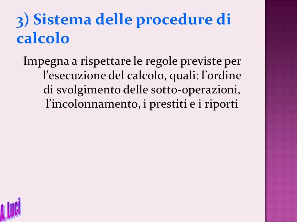 3) Sistema delle procedure di calcolo Impegna a rispettare le regole previste per l'esecuzione del calcolo, quali: l'ordine di svolgimento delle sotto