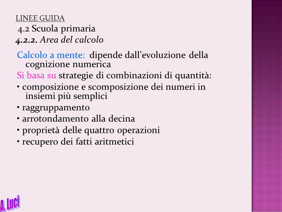 LINEE GUIDA 4.2 Scuola primaria 4.2.2. Area del calcolo Calcolo a mente: dipende dall'evoluzione della cognizione numerica Si basa su strategie di com
