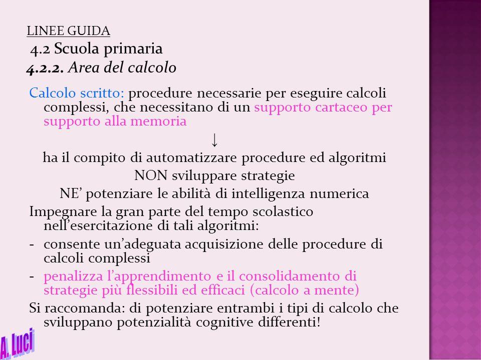 LINEE GUIDA 4.2 Scuola primaria 4.2.2. Area del calcolo Calcolo scritto: procedure necessarie per eseguire calcoli complessi, che necessitano di un su