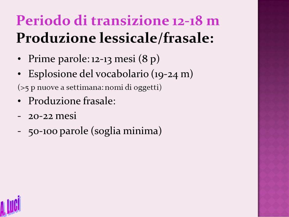 Periodo di transizione 12-18 m Produzione lessicale/frasale: Prime parole: 12-13 mesi (8 p) Esplosione del vocabolario (19-24 m) (>5 p nuove a settima
