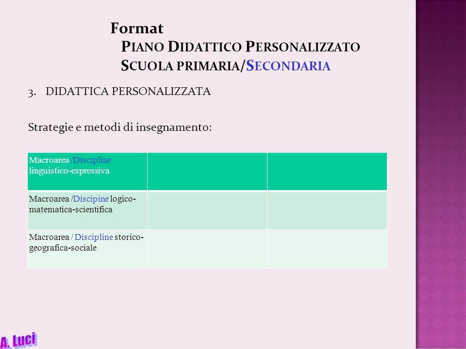 Format P IANO D IDATTICO P ERSONALIZZATO S CUOLA PRIMARIA /S ECONDARIA 3.DIDATTICA PERSONALIZZATA Strategie e metodi di insegnamento: Macroarea /Disci
