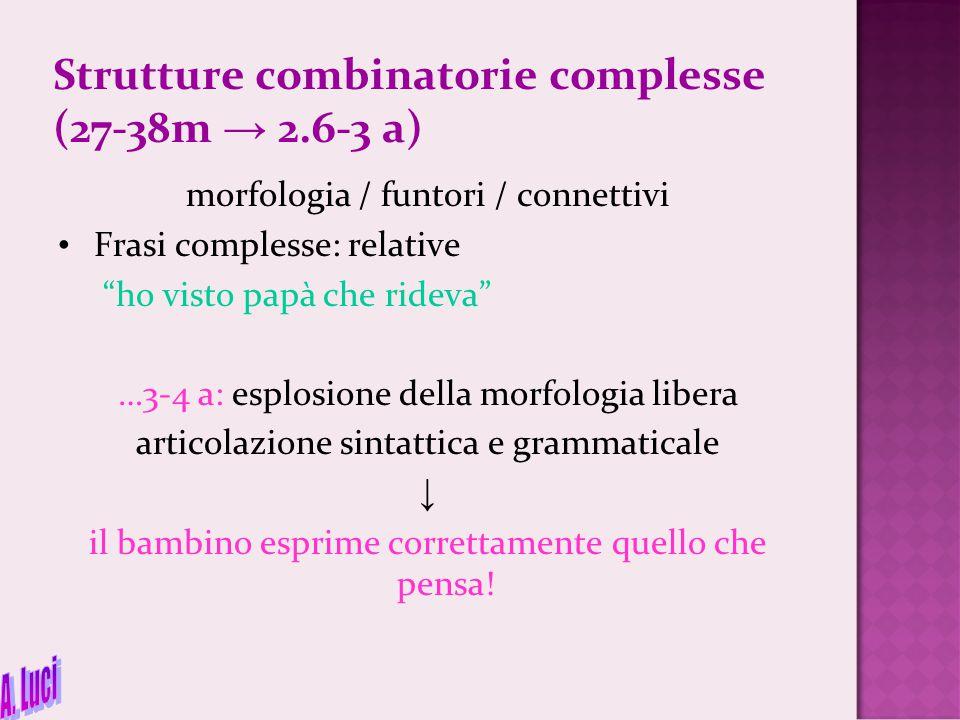 "Strutture combinatorie complesse (27-38m → 2.6-3 a) morfologia / funtori / connettivi Frasi complesse: relative ""ho visto papà che rideva"" …3-4 a: esp"
