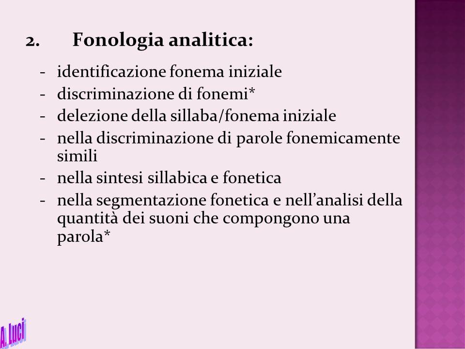 2.Fonologia analitica: - identificazione fonema iniziale -discriminazione di fonemi* -delezione della sillaba/fonema iniziale -nella discriminazione d