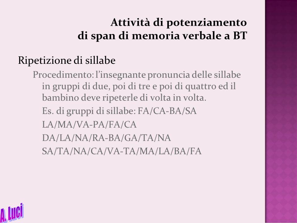 Attività di potenziamento di span di memoria verbale a BT Ripetizione di sillabe Procedimento: l'insegnante pronuncia delle sillabe in gruppi di due,